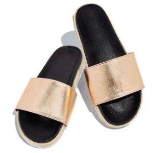 Shoes - !! RESTOCKED !! Espadrille Slides in Rose Gold